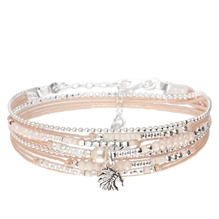 BR8270BSCR - bracelet multi-tours beige pendentif indien