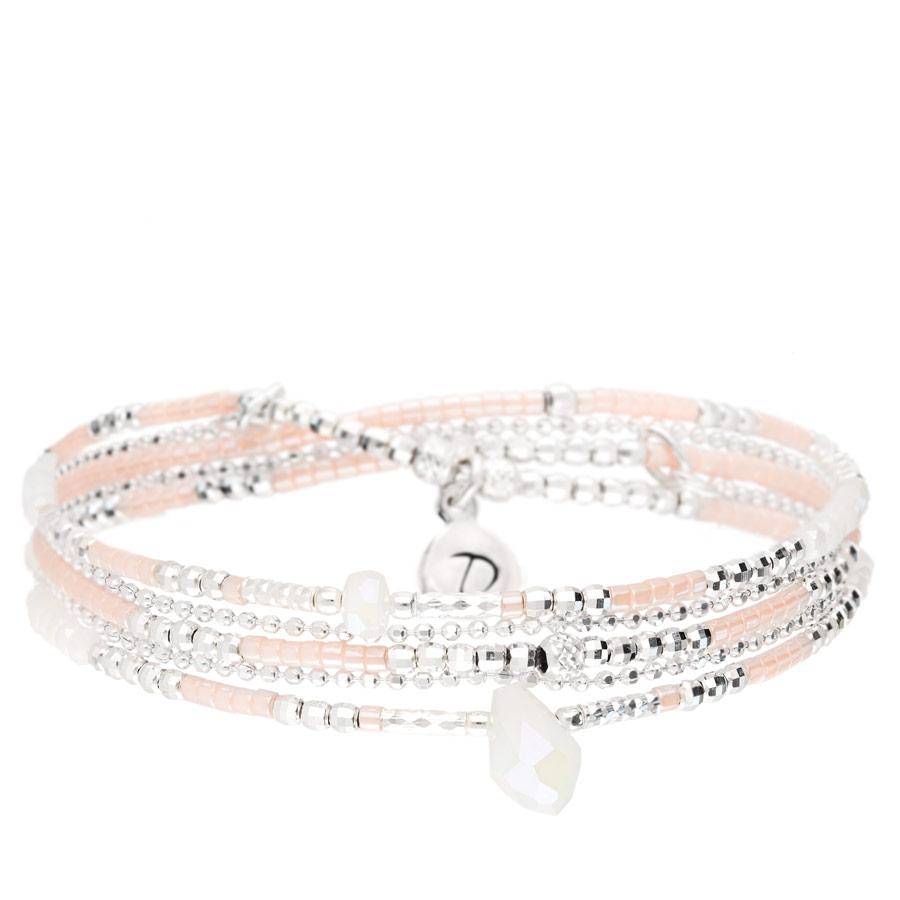 BR8300-3TOPRCM - bracelet élastique 3 tours en argent 925, goutte centrale blanche
