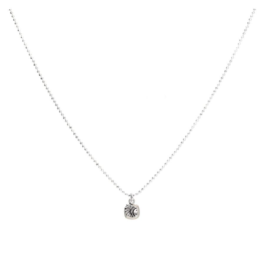 CO8431OP-collier chaine avec pendentif tête d'indien et pierre opaline