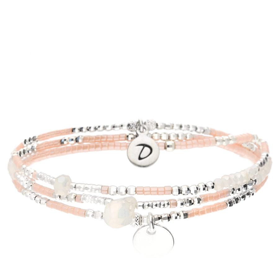 BR7618-3TOPRCM-bracelet élastique 3 tours blanc et rose avec pastille et perle de verre goutte blanche