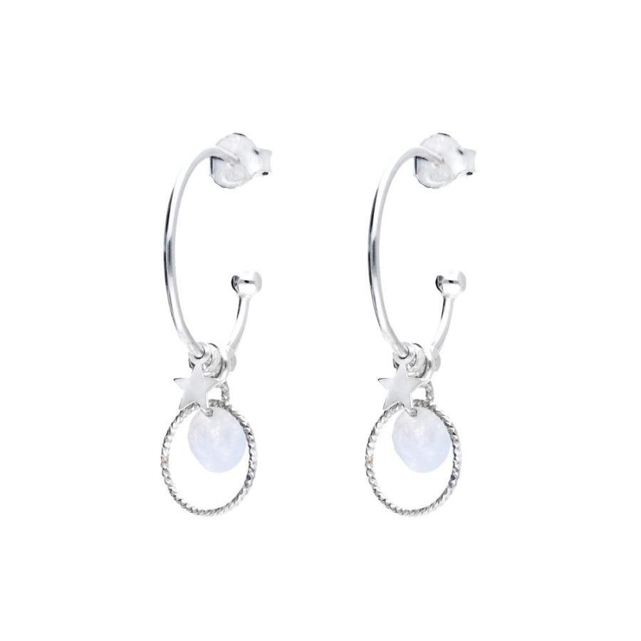 CR3773-18OP-créoles avec pendentifs petite étoile anneau ciselé et pierre opaline