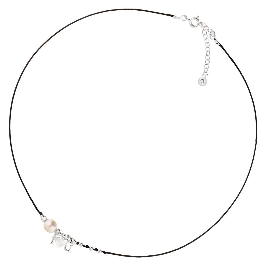 CO8263NO- collier avec cordon noir avec perle nacrée et pendentif i love you