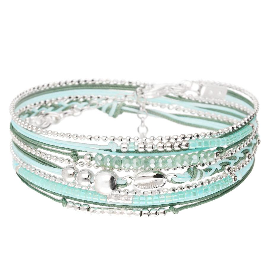 BR8266VEA - bracelet coquillage turquoise multi-tours