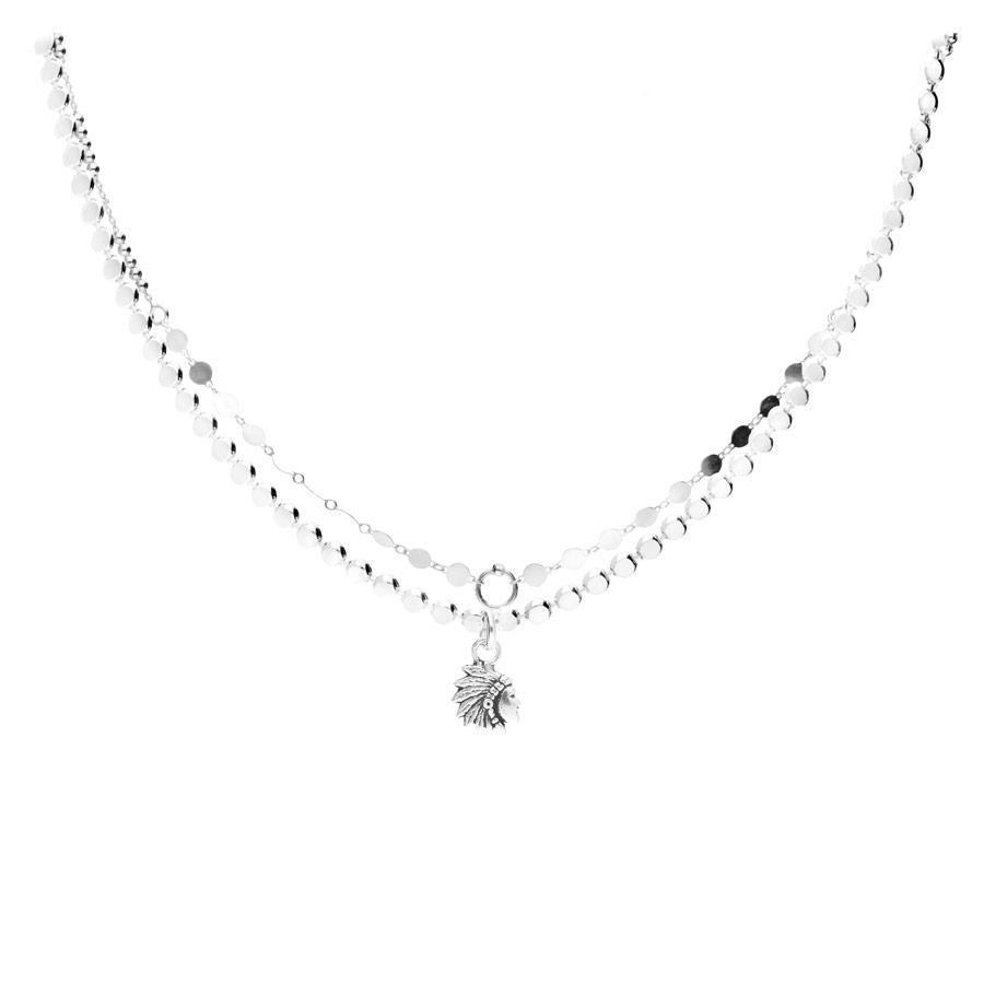CO8449 - collier double chaîne maille rock, chaîne pastilles plate et pendentif indien ethnique