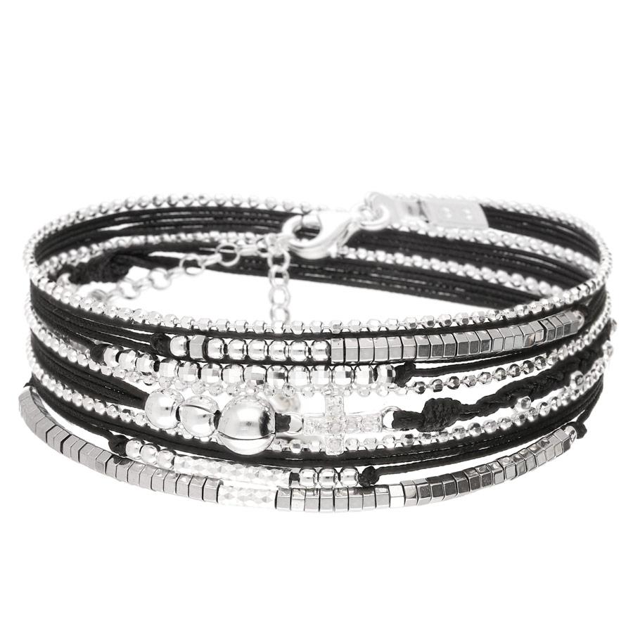BR8264NOHG - bracelet multi-tours cordons noirs