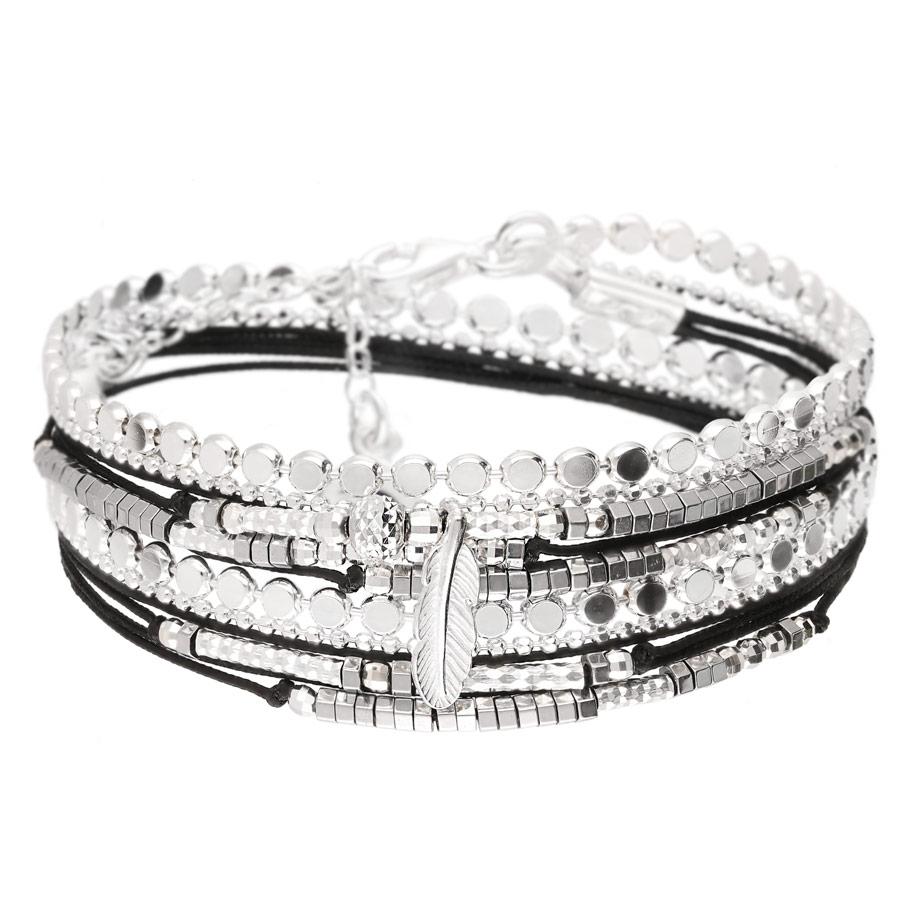 BR8272NOHG - bracelet multi-tours noir pendentif plume et maille rock