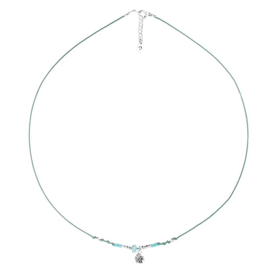 CO8262VEAM - collier cordon turquoise pendentif indien ethnique
