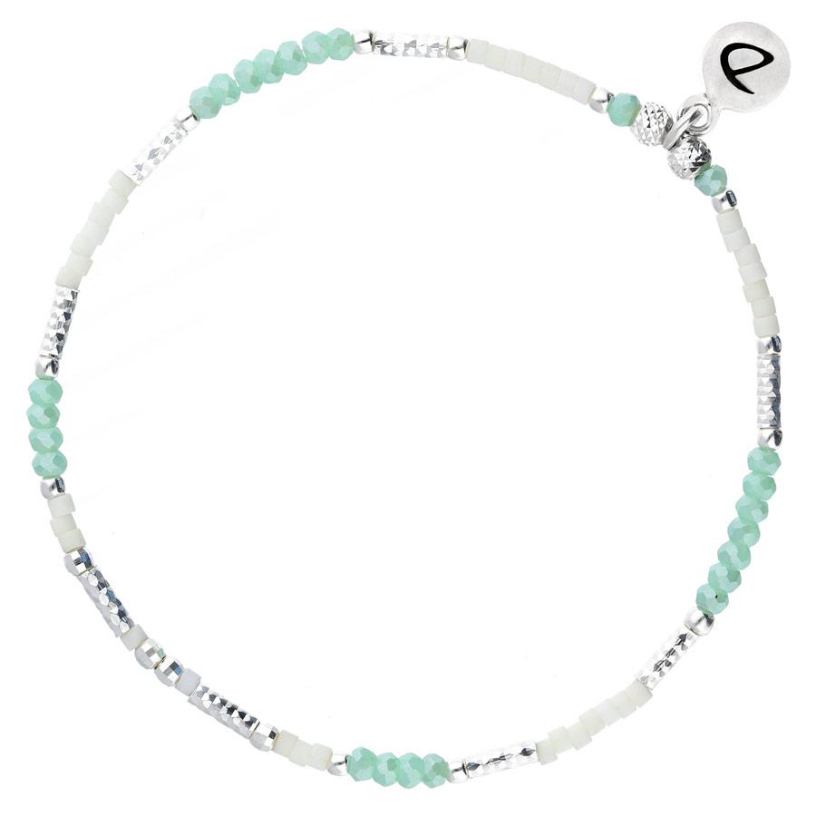 BR7663VTIVM - bracelet élastique perles argent et perles turquoise