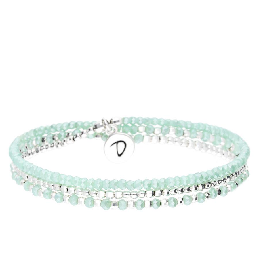 BR7490VCTUM - bracelet élastique trois tours perles turquoise