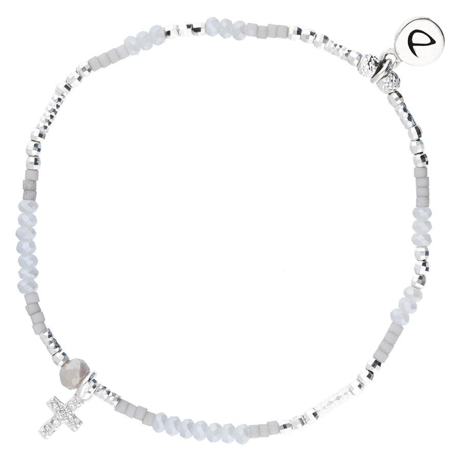 BR8640GCGCM - bracelet élastique perles grises pendentif croix oxyde