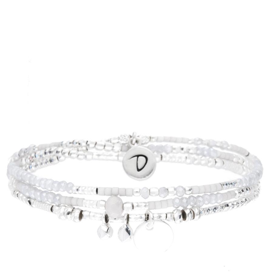BR8651-3TGCGCM - bracelet élastique trois tours perles grises et pierres martelées