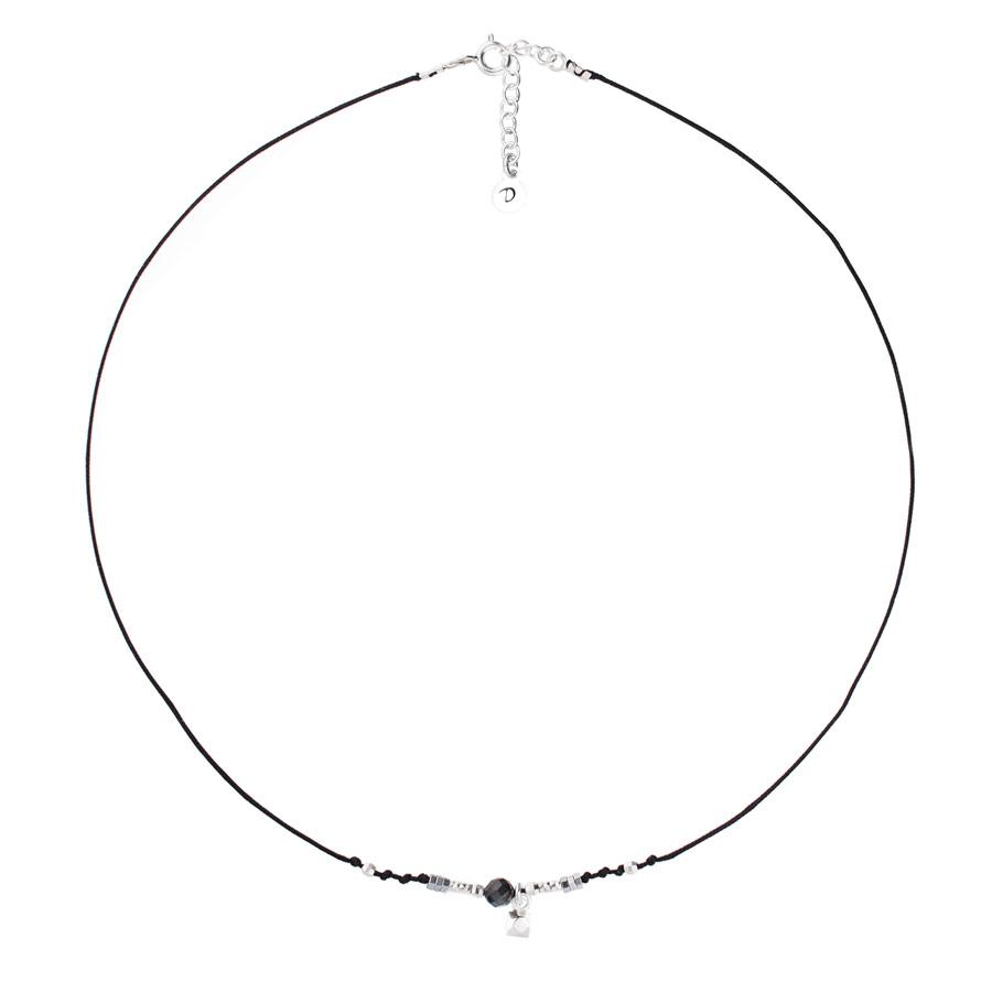 CO8260NONO - collier cordon noir pendentif pierre martelée