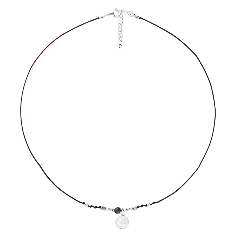 COLLIER SIXTINE NOIR MEDAILLE ANGE