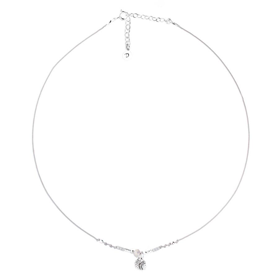CO8262GRI - collier cordon gris pendentif indien