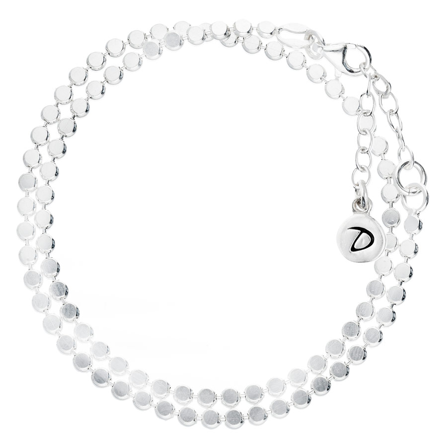 BRACELET DOUBLE CHAINE MAILLE RONDE PLATE