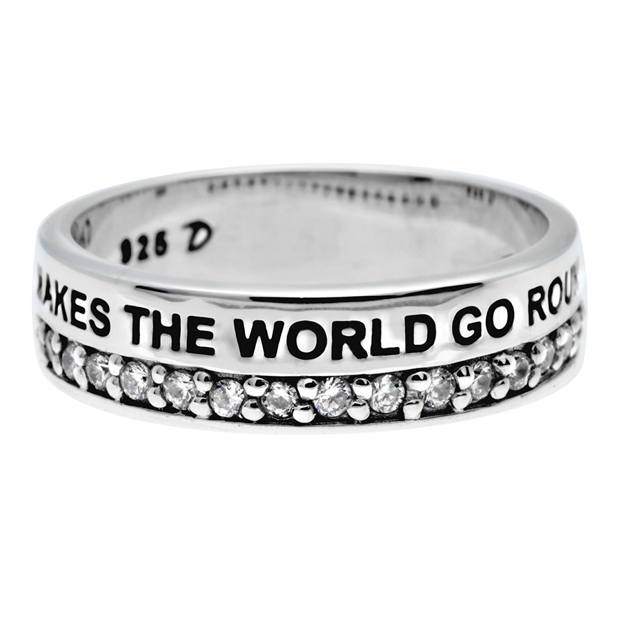BAGUE MESSAGE LARGE LOVE MAKES THE WORLD GO ROUND