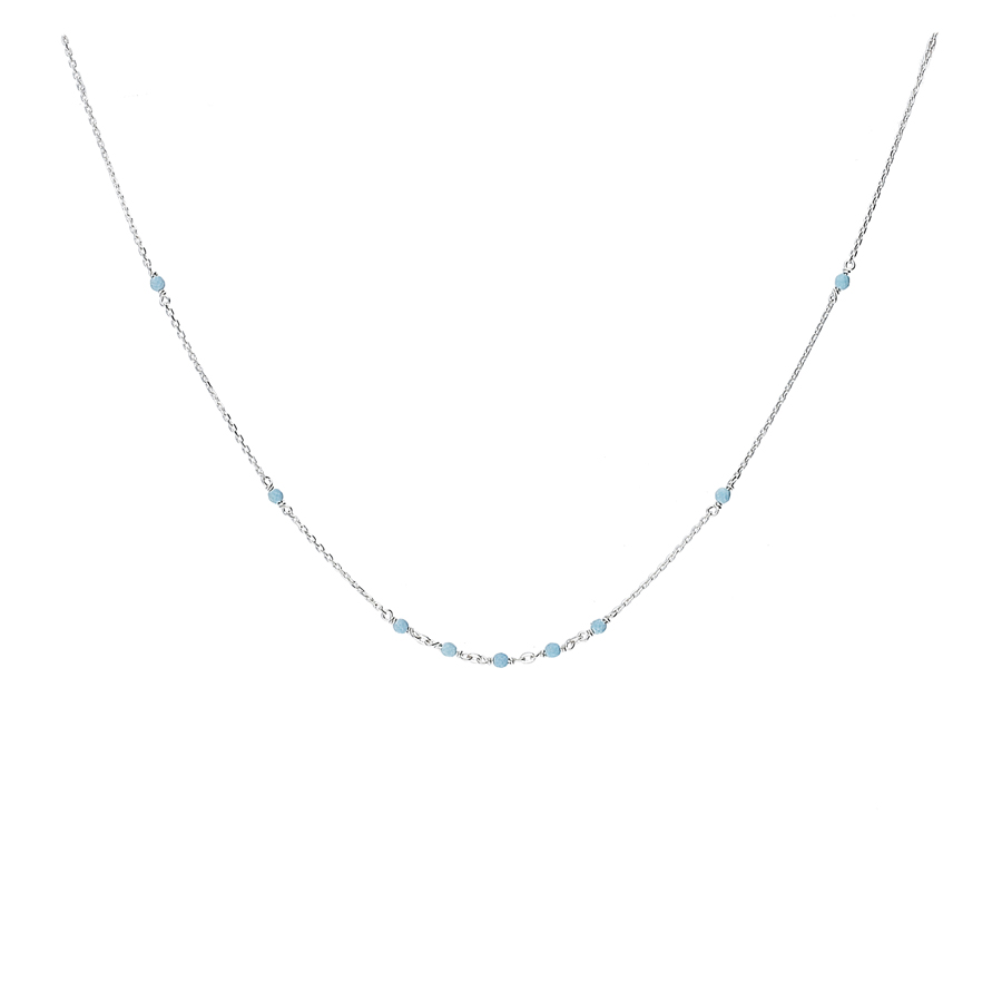 COLLIER CHAINE FINE NEUF PERLES TURQUOISES 2MM