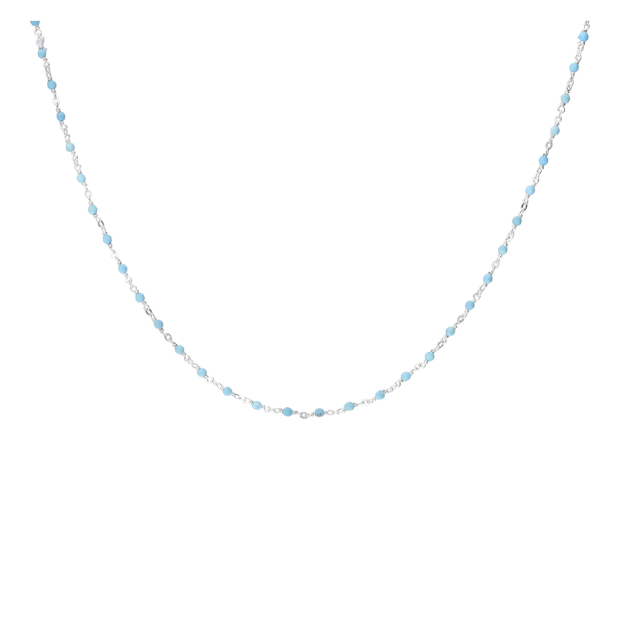 COLLIER CHAINE FINE PERLES TURQUOISES 2MM
