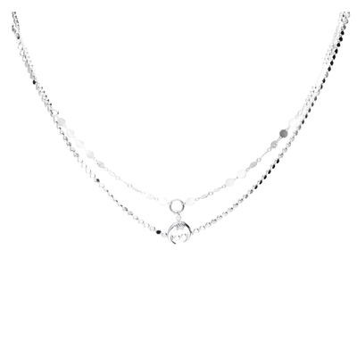 COLLIER DOUBLE CHAINES CORNE ETHNIQUE