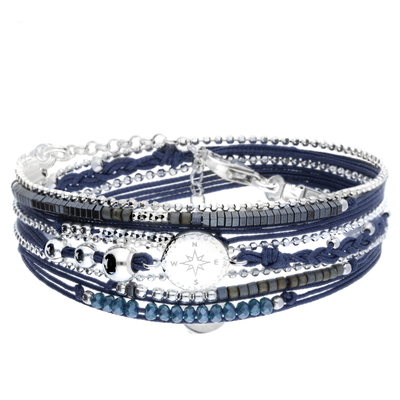 BRACELET MULTI TOURS BLEU ROSE DES VENTS