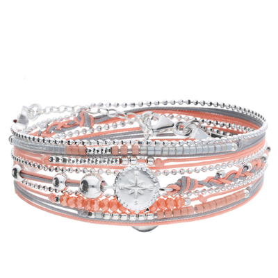 BRACELET MULTI TOURS GRIS CORAIL ROSE DES VENTS