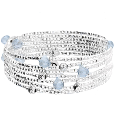 BRACELET ELASTIQUE 7 RANGS LOLLIPOP  GRIS & SILVER