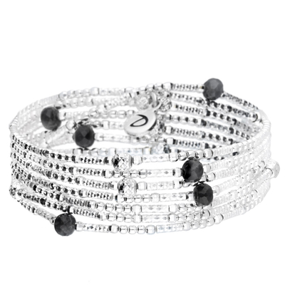 BRACELET ELASTIQUE 7 RANGS LOLLIPOP NOIR & SILVER