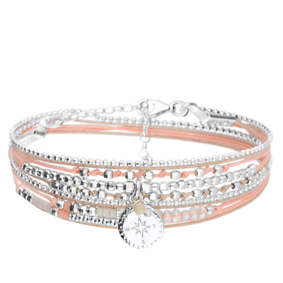 BRACELET DOUBLE TOURS ROSE DES VENTS BEIGE CORAIL