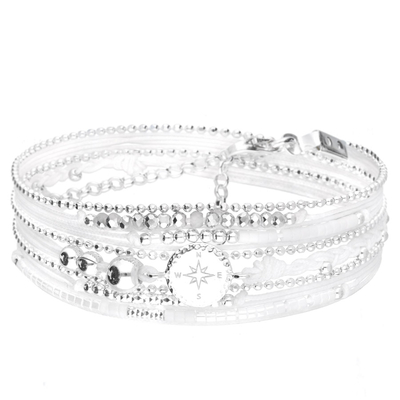 BRACELET MULTI TOURS BLANC ROSE DES VENTS