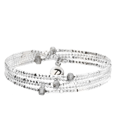 BRACELET BROOKLYN 3 RANGS SILVER ET NUDE
