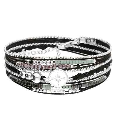 BRACELET MULTI-TOURS NOIR VIOLET ROSE DES VENTS