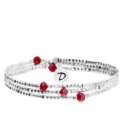BRACELET LOLLIPOP 3 RANGS ROUGE ET SILVER