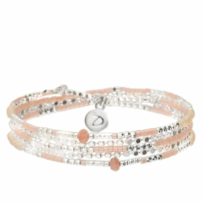 BRACELET AJACCIO TRIPLE RANGS BEIGE ROSE