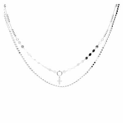 COLLIER DOUBLE CHAINES CROIX OXYDE