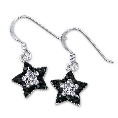 BOUCLES PENDANTES STARLIGHT BLACK&WHITE 12MM