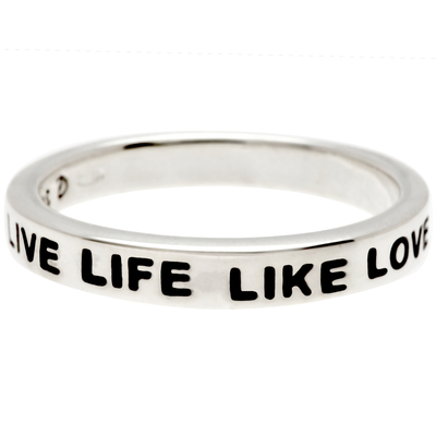 BAGUE MESSAGE LIVE LIFE LIKE LOVE