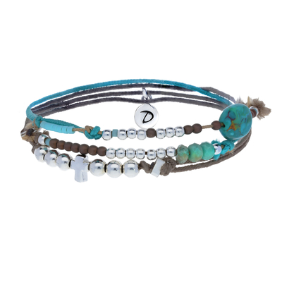 BRACELET L'HOMME ABSOLU TAUPE-TURQUOISE