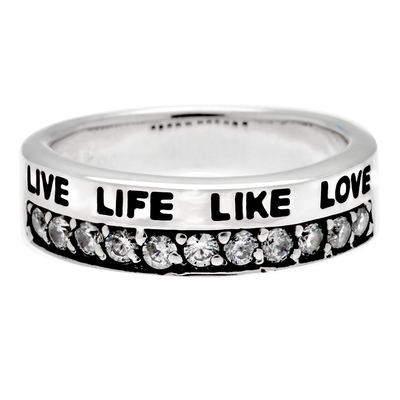 BAGUE MESSAGE LARGE LIVE LIFE LIKE LOVE