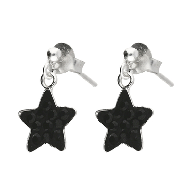 BOUCLES PENDANTES BLACK STARLIGHT 9MM