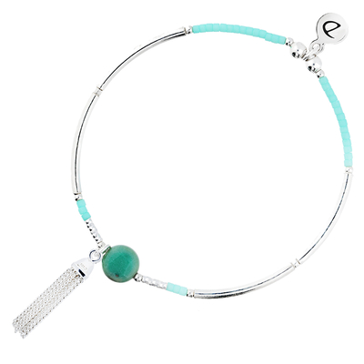 BRACELET ELASTIQUE SO SWEET SILVER & BLUE