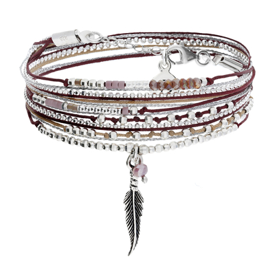 BRACELET LITTLE FEATHER BEIGE BORDEAUX