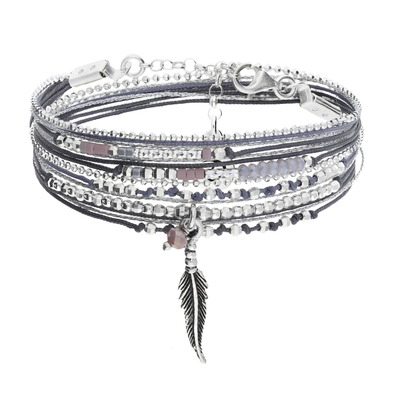 BRACELET LITTLE FEATHER GRIS PARME