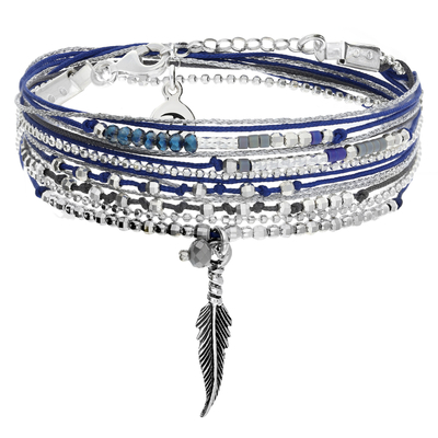 BRACELET LITTLE FEATHER BLEU NUIT-GRIS