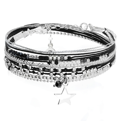BRACELET QUEEN STAR NOIR