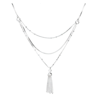 COLLIER TRIPLE RANGS POMPON