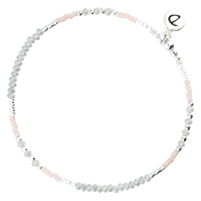 BRACELET ELASTIQUE FLUFFY GRIS ROSE