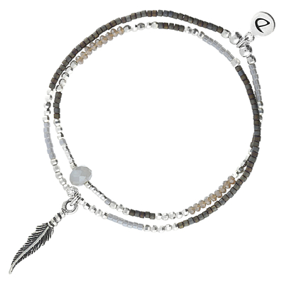 BRACELET SPRING- GREY-BLACK FEATHER