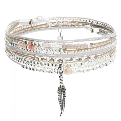 BRACELET LITTLE FEATHER BEIGE GRIS PERLES CORAIL