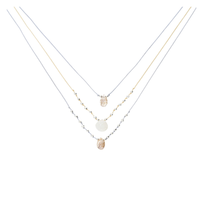 COLLIER TRIPLE HAVANNA GRIS IVOIRE