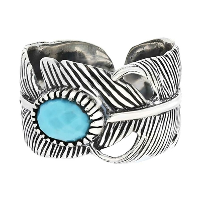 BAGUE REGLABLE PLUME TURQUOISE